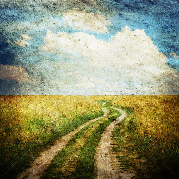 Velden weg oude illustratie hemel Stockfoto © Avlntn