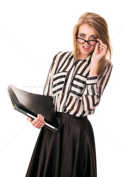 молодые секретарь документы изолированный Сток-фото © Avlntn