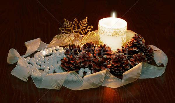 Natale candela luce spazio stelle inverno Foto d'archivio © Avlntn