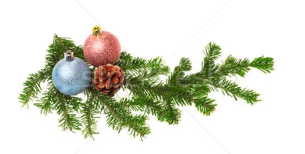 Karácsony dekoráció izolált fehér fa háttér Stock fotó © Avlntn