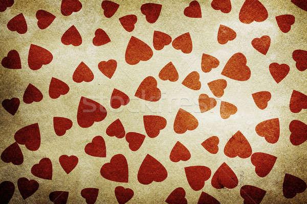 バレンタインデー ヴィンテージ 心 古い紙 テクスチャ 愛 ストックフォト © Avlntn