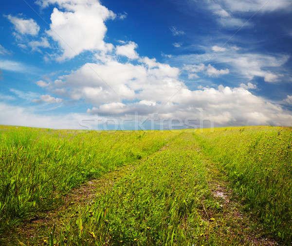Weg velden wolken landschap zomer Stockfoto © Avlntn