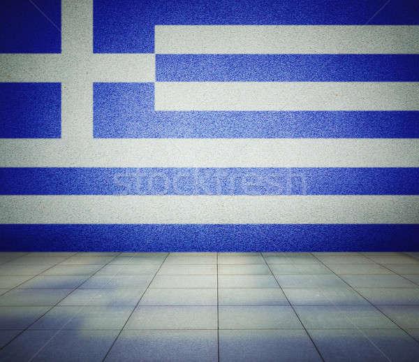 флаг пустой комнате Греция стены студию дома Сток-фото © Avlntn