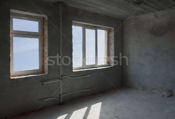 Befejezetlen szoba belső sarok beton kék ég Stock fotó © Avlntn