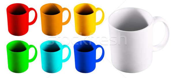 Stockfoto: Gekleurd · ingesteld · achtergrond · groene · drinken · Rood