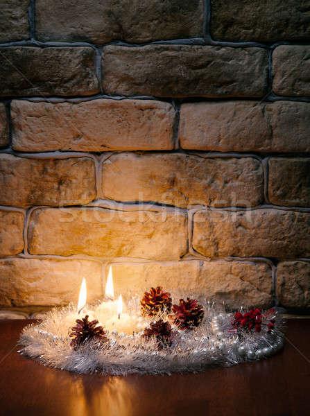 キャンドル 壁 レンガの壁 背景 1泊 赤 ストックフォト © Avlntn