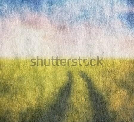 Vecchio illustrazione campi cielo blu carta nubi Foto d'archivio © Avlntn