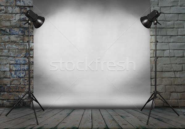 Foto studio oude kamer grunge muur Stockfoto © Avlntn