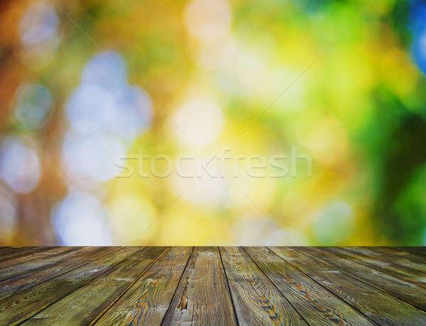 Parlak bokeh sonbahar ahşap duvar Stok fotoğraf © Avlntn
