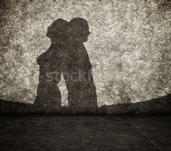 тень человека женщину стены грязные любви Сток-фото © Avlntn