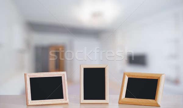 фото кадры деревянный стол гостиной древесины стены Сток-фото © Avlntn