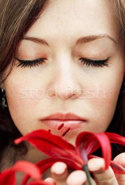 女性 ユリ 赤 虎 顔 目 ストックフォト © Avlntn