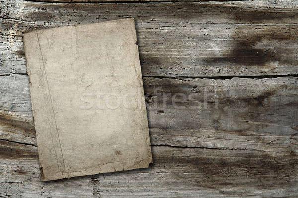 vintage paper on wood texture Stock photo © Avlntn