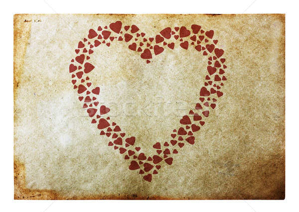 Vintage сердце старой бумаги бумаги краской красный Сток-фото © Avlntn