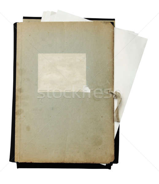 Oude map papieren geïsoleerd witte Stockfoto © Avlntn