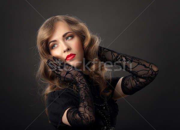 женщину Vintage портрет красивой стиль Сток-фото © Avlntn
