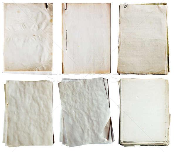 старые документы набор изолированный белый Сток-фото © Avlntn
