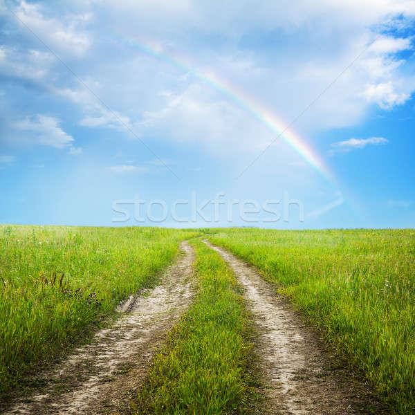 フィールド 田舎道 雲 風景 夏 緑 ストックフォト © Avlntn