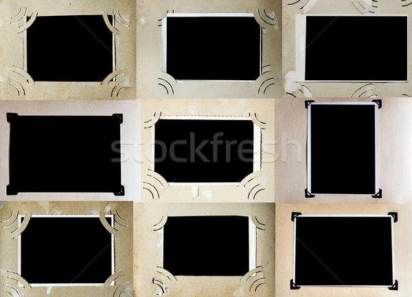 Fényképalbum oldalak szett papír háttér keret Stock fotó © Avlntn