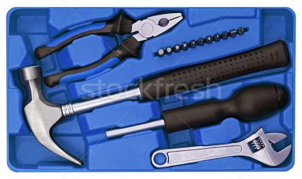 Tools ingesteld plastic vak hand werk Stockfoto © Avlntn