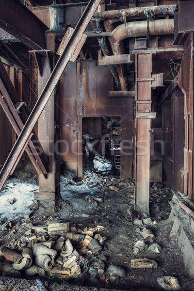 Elhagyatott gyár ipari fal hó háttér Stock fotó © Avlntn