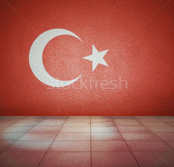 Zászló üres szoba Törökország fal stúdió ház Stock fotó © Avlntn