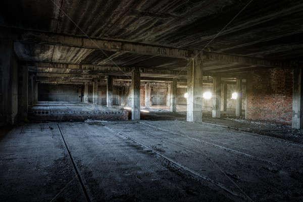 Stock fotó: Elhagyatott · épület · belső · öreg · építkezés · fal