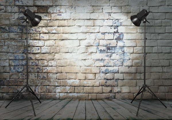 фото студию старые комнату кирпичная стена темно Сток-фото © Avlntn