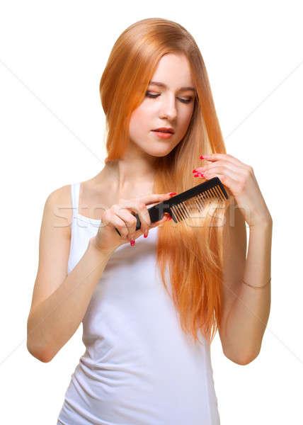 girl with comb Stock photo © Avlntn