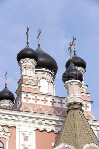 Ortodox templom Fehéroroszország közelkép kereszt városi Stock fotó © avq