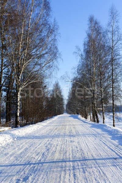 Kış yol küçük kapalı kar kış sezonu Stok fotoğraf © avq