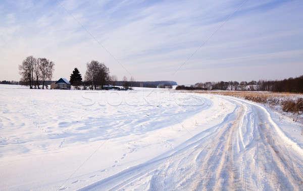 зима дороги шоссе зимний сезон покрытый снега Сток-фото © avq