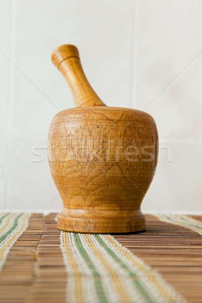wooden mortar   Stock photo © avq