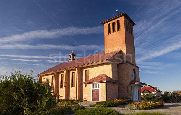 Katholiek kerk oude muur kruis Blauw Stockfoto © avq
