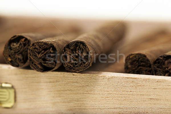 Szivarok doboz kicsi fa stock szivar Stock fotó © avq