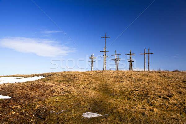 Cruces colina Bielorrusia azul muerte Foto stock © avq