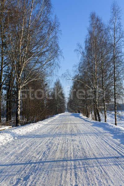 Stok fotoğraf: Kış · yol · küçük · kapalı · kar · kış · sezonu