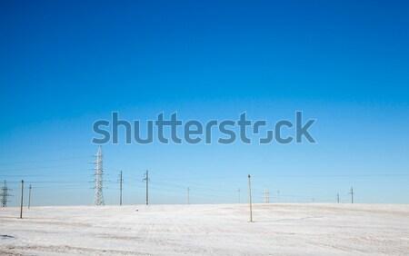 Sütunlar alan elektrik ayakta kış inşaat Stok fotoğraf © avq
