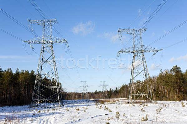 Távvezeték tél közelkép égbolt épület építkezés Stock fotó © avq