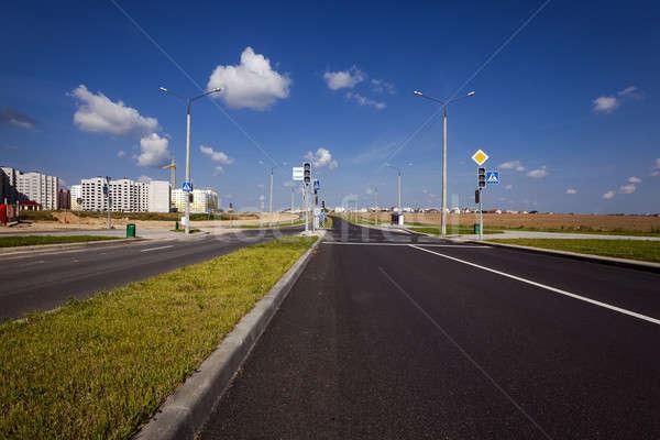 новых дороги район город строительство небе Сток-фото © avq