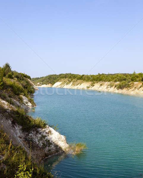 Mesterséges tó víz tavasz természet kék Stock fotó © avq