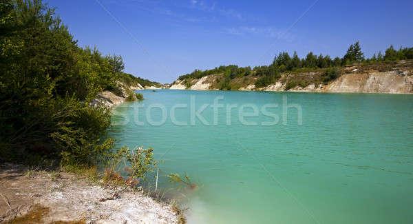 Mesterséges tó terület égbolt víz fa Stock fotó © avq