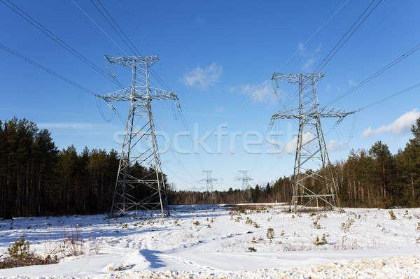 Távvezeték téli idény technológia égbolt épület építkezés Stock fotó © avq