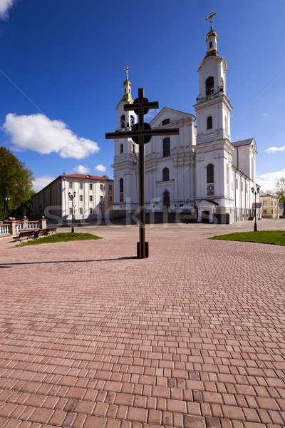 Kilise Belarus şehir gökyüzü yaz Stok fotoğraf © avq