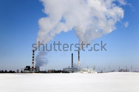 электростанция зимний сезон Беларусь небе здании области Сток-фото © avq