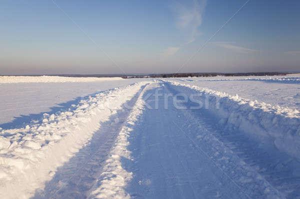 út mező vidéki mezőgazdasági téli idény autó Stock fotó © avq