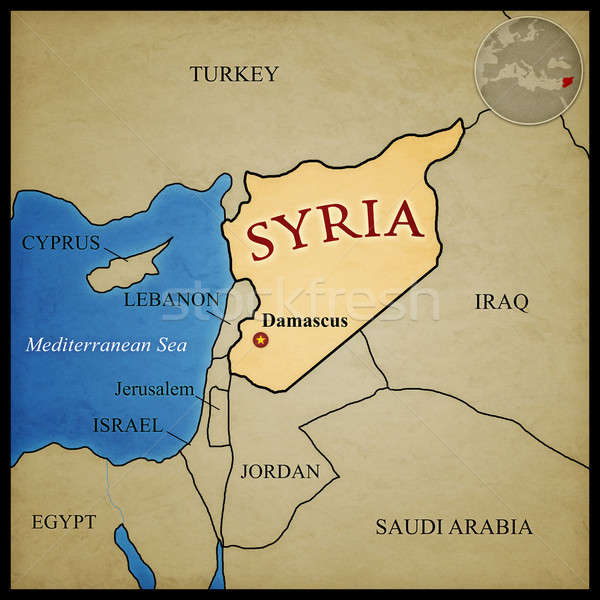 Syrië kaart landen plaats midden oosten water Stockfoto © axstokes
