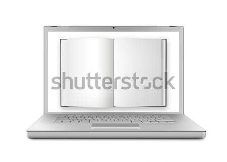 Foto stock: Ebook · libro · moderna · portátil · Screen · aislado