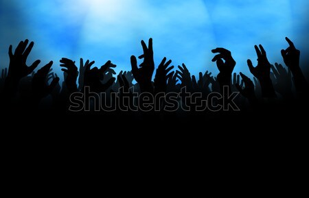 Photo stock: Foule · main · silhouette · mains · levées · concert