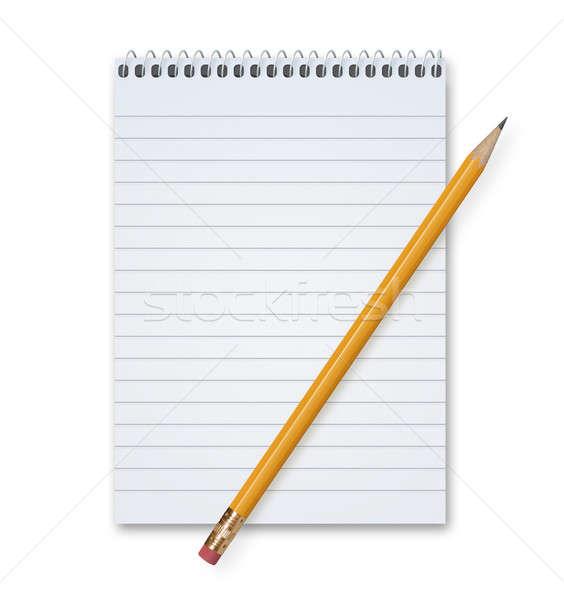 Crayon orange notepad métal spirale espace de copie Photo stock © axstokes